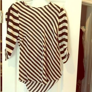 BCBG XS Black and White 100 % Silk Top